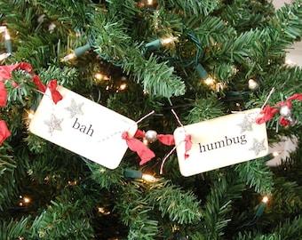Bah Humbug flash card ornament/garland (red)