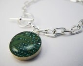 Circuit Board Green Charm Bracelet Computer Jewelry Womans Bracelet