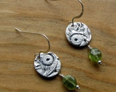 Round Textured Earrings with Green Garnet