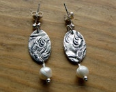 Oval Textured Earrings with Pearl