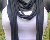Tee Shirt Scarf - Necklace - Black
