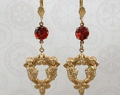 Earrings - Baroque cherubs with vintage red glass flowers