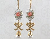 Earrings - Soft pink roses on porcelain with bows and a pearl