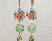 Earrings - Vintage Floral Cabochons, Vintage Candy Stripes