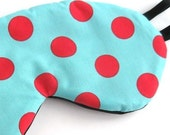 Silk Luxury Eye Mask in Turquoise and Red Polka Dots