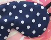 Silk Luxury Navy Blue and White Polka Dot Eye Mask in Basic or Luxury Padding