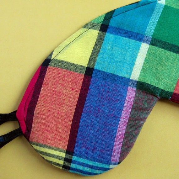 Plaid Eye Mask Fully Adjustable Great Gift for Fathers Day