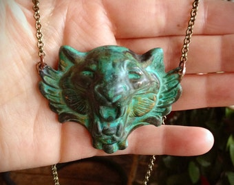 Winged Green Patina Lion Necklace, Cecil, Big Cat