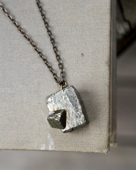 Pyrite Cube On Cube Pendant Necklace on Antiqued Brass