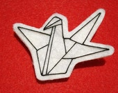 ORIGAMI PAPER CRANE Brooch (or Patch)