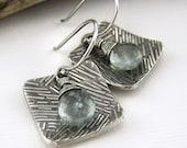 Moss Aquamarine Contrast Earrings No. 1 March Birthday Birthstone Spring Fashion Jewelry - Jennifer Casady