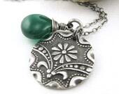 Green Onyx Necklace Art Deco Daisy Charm Sterling Silver Designer Fashion Jewelry - Jennifer Casady - Solo No. 47