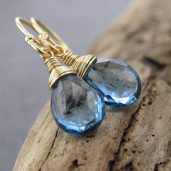 Petite Drops Collection - London Blue Topaz and 14K Gold Fill