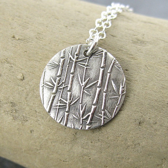 Tiny Circle Necklace Bamboo Grove Unique Petite Sterling Silver Jewelry - Jennifer Casady