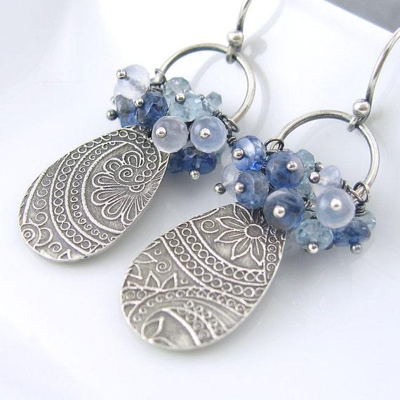 ON SALE Blue Gemstone Cluster Earrings Paisley Earrings Kyanite Aquamarine Natural Chalcedony Sterling Silver - Elizabeth No. 3 Under 100