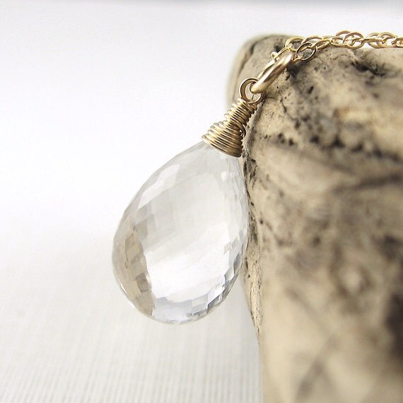 Crystal Quartz Necklace, Gold Wire Wrapped Necklace, April Birthstone, Winter Finds, Gifts for Her - Luxe Minimalist No. 7