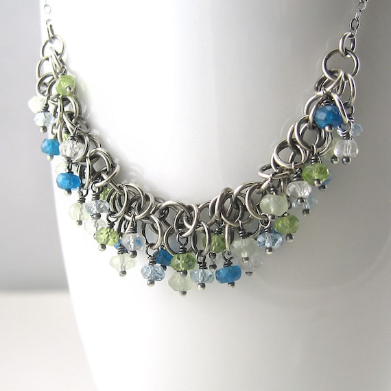CLEARANCE SALE Chainmail Necklace Fashion Jewelry Sterling Silver Gemstone  - Marjorie - Blue Green - Spring Jewelry