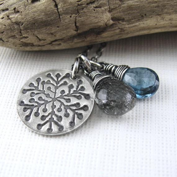 CLEARANCE SALE Snowflake Necklace Handmade Jewelry Gemstone Charm Necklace Silver Blue Black OOAK - Duets No. 36 - Jennifer Casady