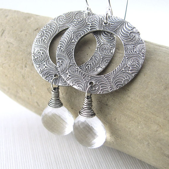 Statement Jewelry Crystal Quartz Earrings Silver Circle Clear April Birthstone Birthday Fashion Jewelry - Vivian No. 2 - Jennifer Casady