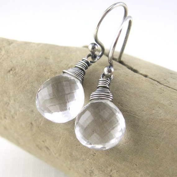 Clear Crystal Quartz Earrings, April Birthstone, Sterling Silver Handmade Jewelry, Holiday Jewelry, Gifts for Her - Petite Drops
