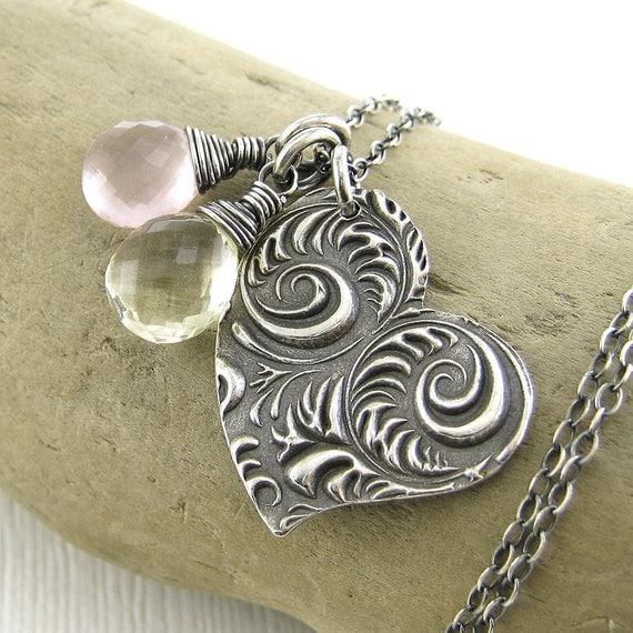 Rose Quartz Necklace Scapolite Jewelry Heart Pendant Fashion Pastel Jewelry Pink Yellow Wild Heart No. 3 Handmade Jewelry