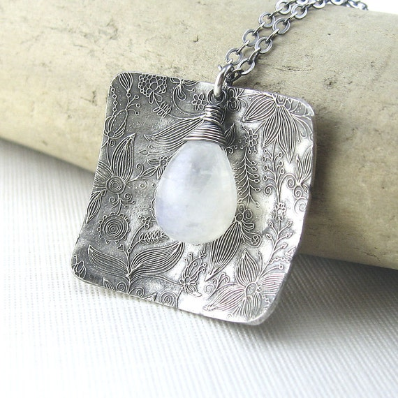 CLEARANCE Moonstone Necklace Long Layering Jewelry White Gemstone Sterling Silver Winter Christmas Fashion Jewelry - No. 3