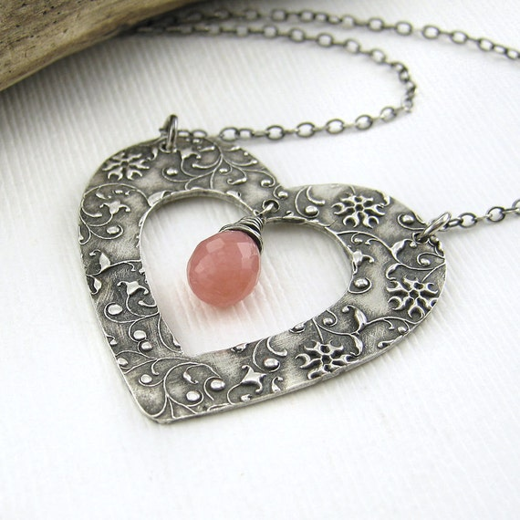 Heart Jewelry Valentine Jewelry Necklace Pink Opal Silver Romance Spring Fashion Jewelry - My Heart Necklace No. 9