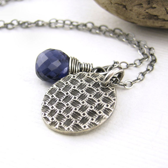 Teeny Tiny Charm Necklace Blue Iolite Basketweave Spring Fashion Jewelry - Solo No. 36 - Jennifer Casady