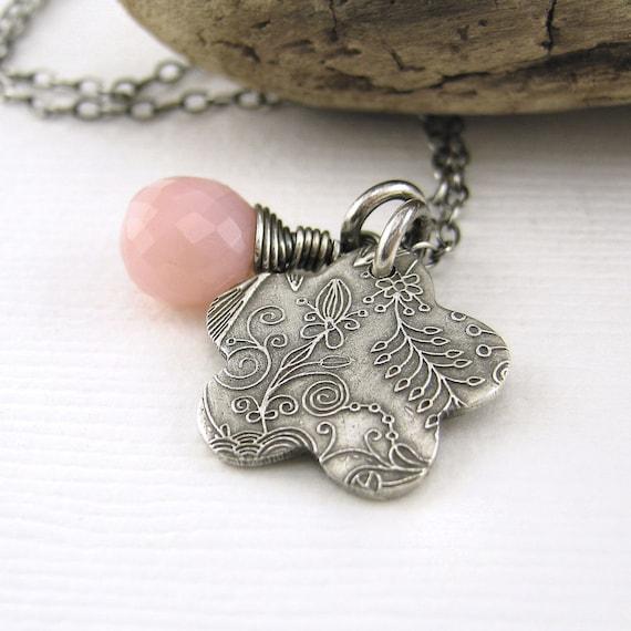 Spring Jewelry Teeny Tiny Charm Necklace Pink Opal Dainty Flower Fashion Jewelry - Solo No. 41 - Jennifer Casady
