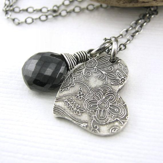 CLEARANCE Wire Wrapped Necklace Gothic Jewelry Black Spinel Gemstone Teeny Tiny Charm Heart Fashion Jewelry - Solo No. 48 - Jennifer Casady