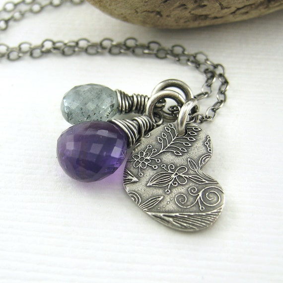 CLEARANCE Teeny Tiny Charm Necklace Purple Amethyst Teal Moss Aquamarine Sterling Silver Heart Fashion Jewelry - Duets No. 81