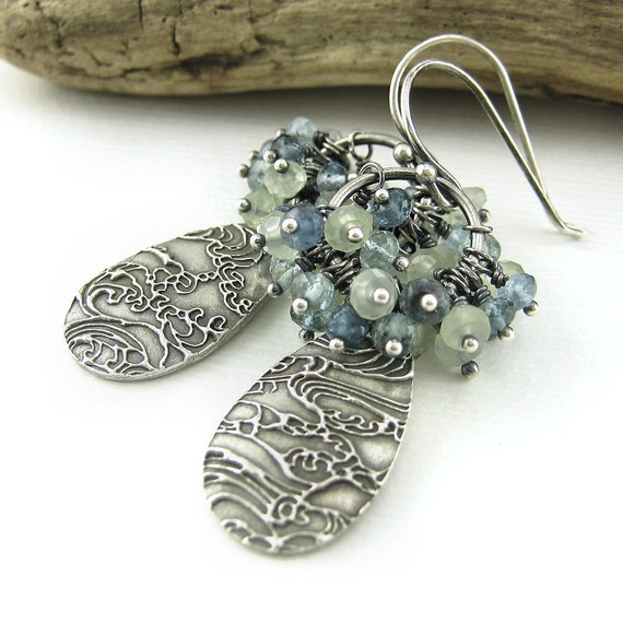 Gemstone Cluster Earrings Spring Fashion Ocean Blue Green Sterling Silver Antiqued No. 6 Designer Handmade Fashion Jewelry