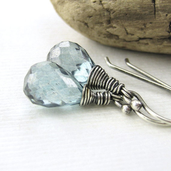 CLEARANCE Teal Mystic Quartz Earrings Antiqued Sterling Silver Spring Fashion Jewelry Handmade Designer Jewelry Minimalist Earrings