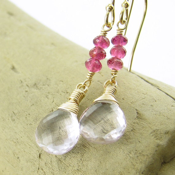 Pink Tourmaline Earrings Gold Jewelry Gold Gemstone Earrings Amethyst Handmade Fashion Jewelry 14k Gold Fill - Tracey No. 7