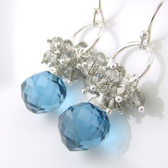 Gemstone Cluster Earrings Handmade Sterling Silver London Blue Black White Spring Fashion Sterling Silver Antiqued No. 12 Under 100