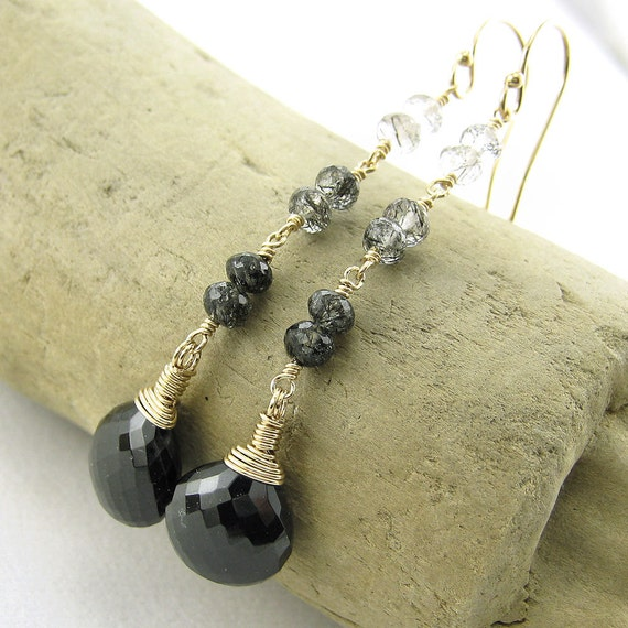Extra Long Black Earrings, Wire Wrapped Earrings, Black Spinel Black Tourmalinated Quartz 14k Gold Fill
