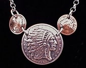 Silver Necklace made from 3 Vintage American Coins