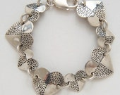Heart Dot Dimes Quarters Bracelet made from Vintage Silver American Coins