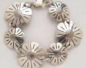 Recycled US Coin Design Daisies Bracelet made from Vintage American Silver Half & Quarter Coins