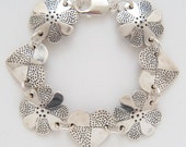 Recycled US Coin Design Heart Dot Flower Bracelet made from Vintage American Silver Quarter Coins