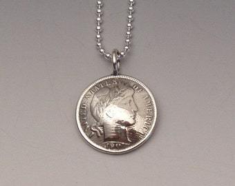Silver Barber Dime Pendant Made from Vintage US Coin
