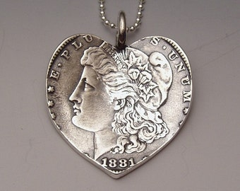 Heart Dollar Pendant made from Morgan Silver Dollar