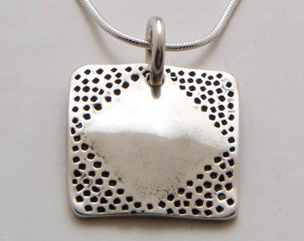Recycled Coin Design Square Diamond Pendant Made from Vintage US Silver Half Dollar