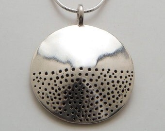 Circle Dot Pendant made from Vintage Silver US Half Dollar Coin