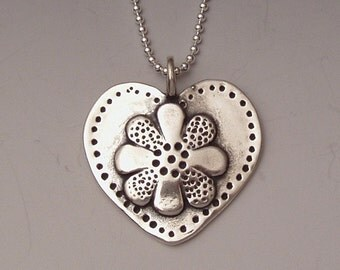 Coin Heart Flower Pendant made from Silver US Half Dollar Coin Money