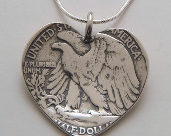 Recycled Coin Design Heart Pendant - Vintage US Silver Liberty Half Dollar Coin