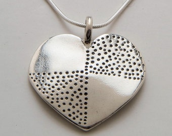 Recycled US Coin Design Heart Dot Pendant Made from Vintage Silver Half Dollar, Dime or Quarter Coin