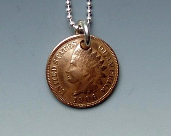 Indian Penny Pendant Made from Vintage US Coin