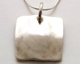 Silver Square Pendant Made from Vintage US Silver Liberty Half Dollar, Quarter or Dime Coin
