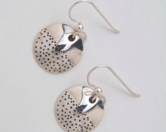 Silver Circle Dot Earrings made from Vintage US Silver Dimes